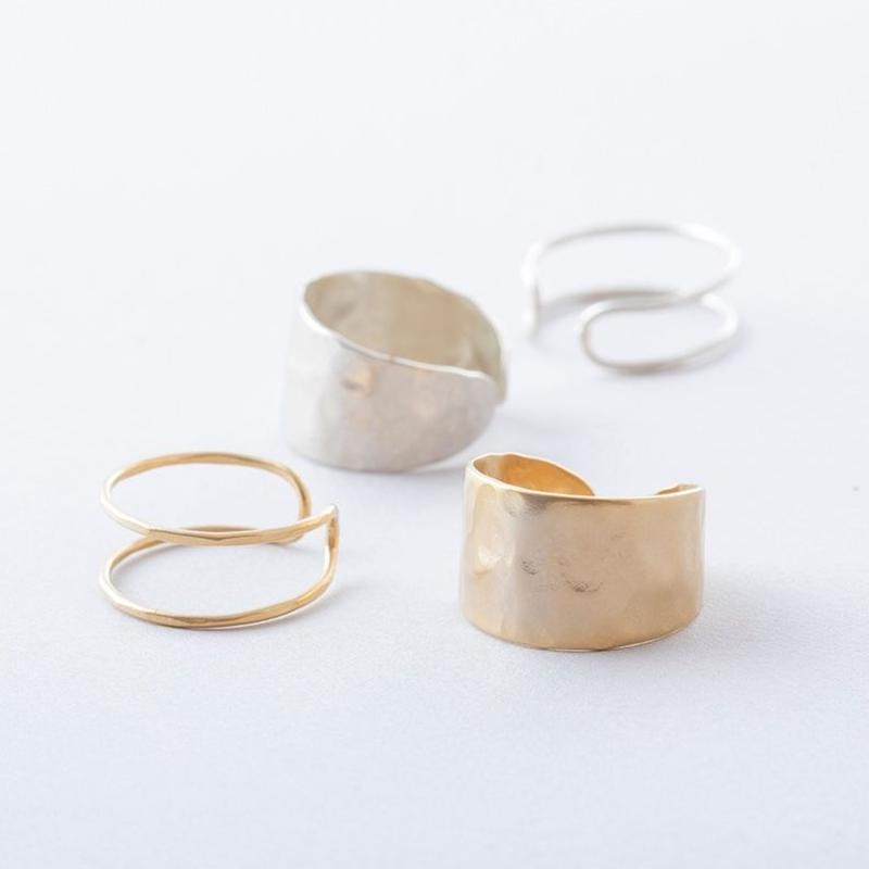 ツチメダブルライン2setリング  / Brass Hammered Double line 2set Ring