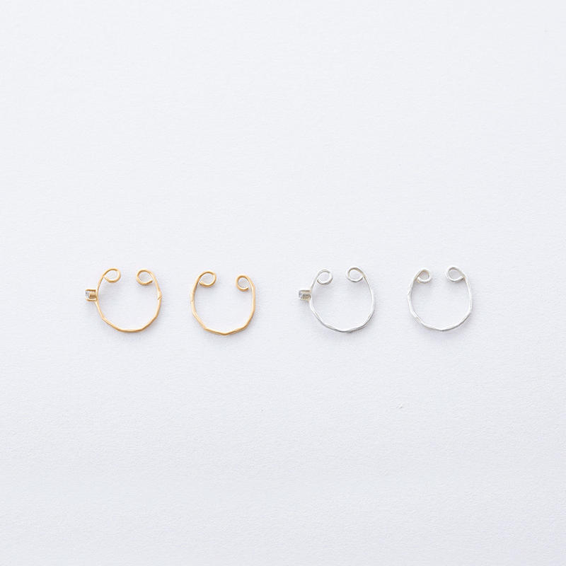 ツチメイヤカフジルコニアset / Brass Hammered  Ear cuff  2set (Cubic zirconia)