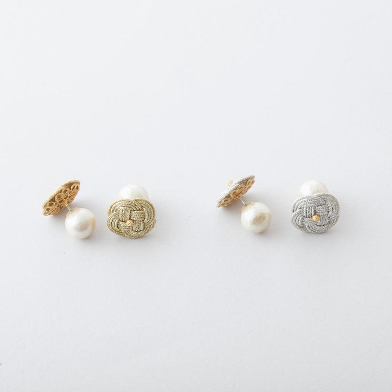 あわじ結び×コットンパールピアス /  Awaji knot × Cotton pearl Pierce