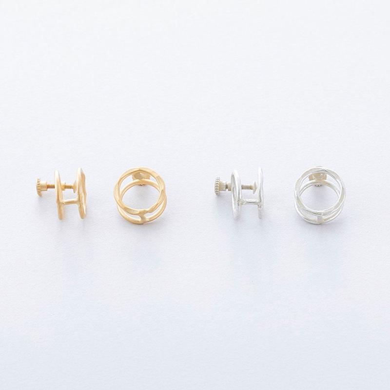 ツチメツインサークルイヤリング / Brass Hammered Twin circle Earring