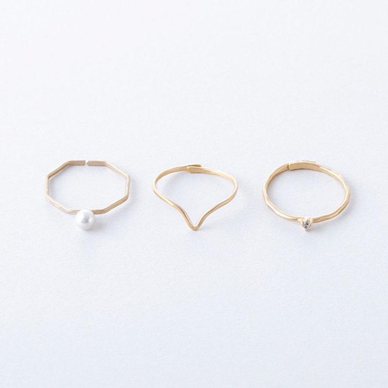ジルコニア&パール3setリング / Brass Hammered Cubic zirconia&Pearl 3set Ring