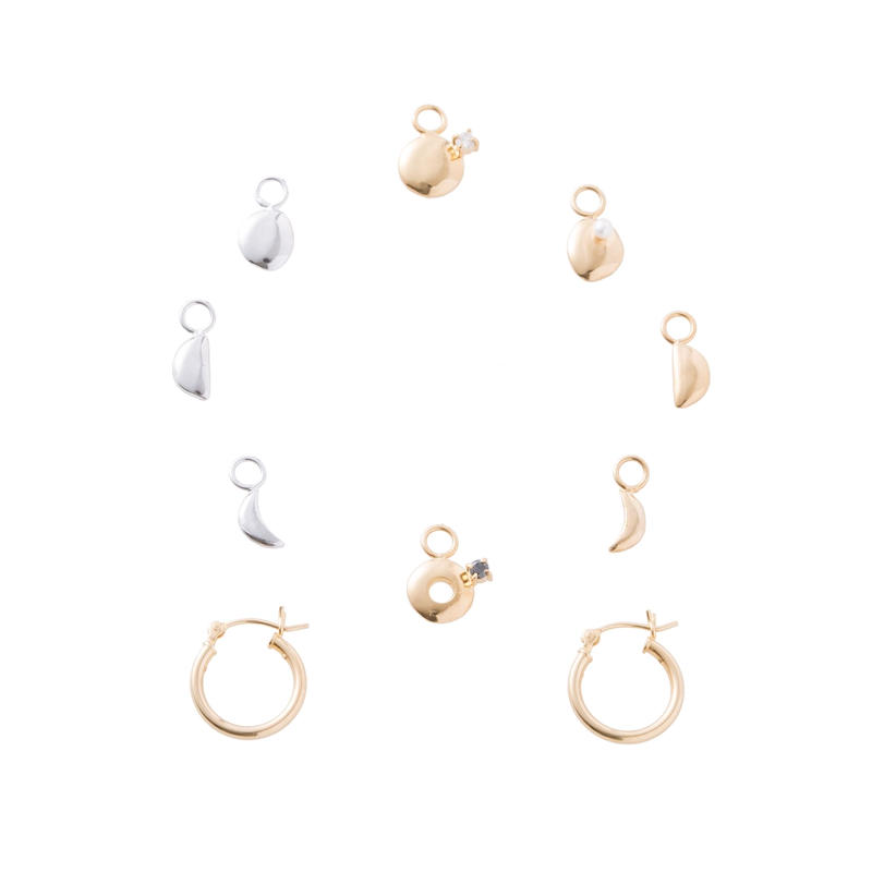 Phase of the moon earrings-silver 925セットdiamond &blackdiamond &pearl