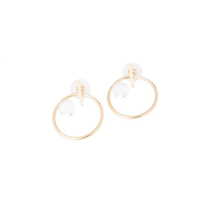Diamondring earrings-小gold  -silver925
