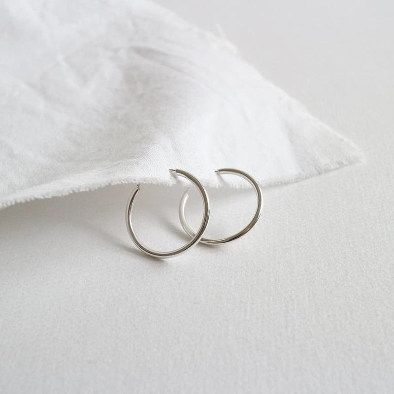 [silver925] simple hoop pierce