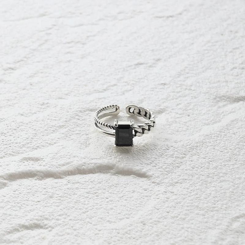 ラスト1点 [silver925] Black stone ring