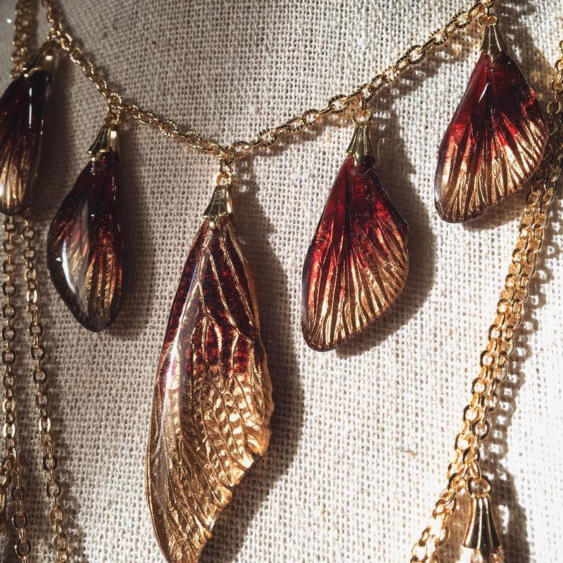 【蝉】Cicada Necklace - 5 Red Gold -