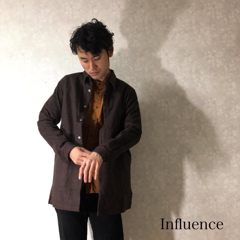 """Influence """"コットンロングシャツジャケット"""" Brown"""
