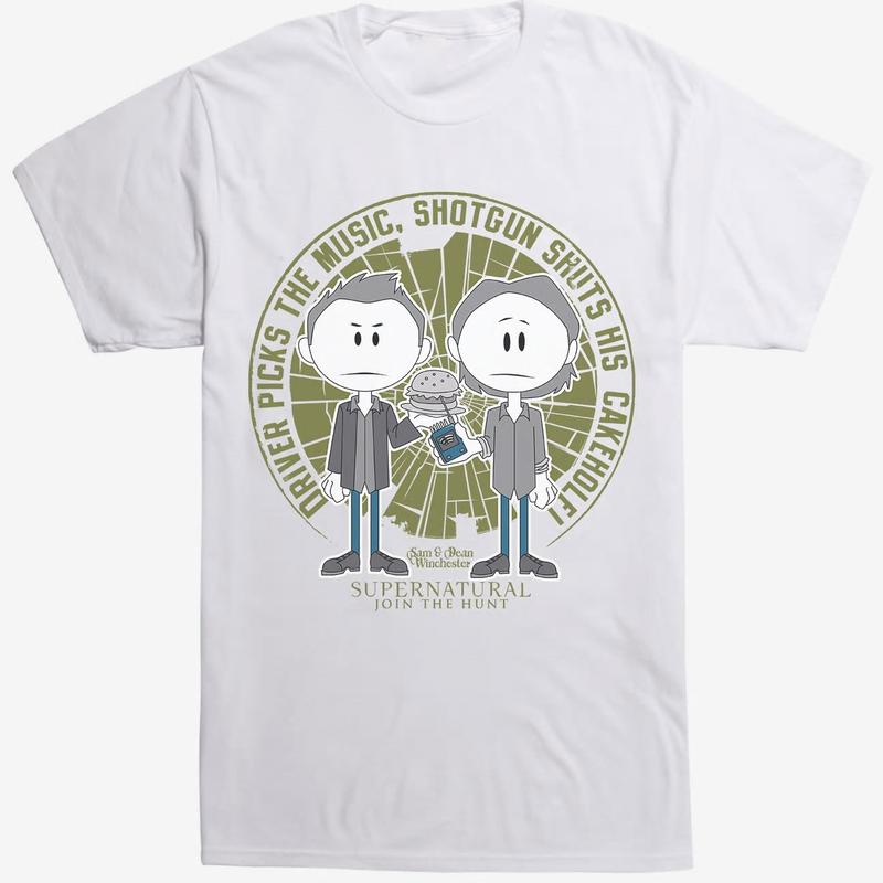 【USA直輸入】スーパーナチュラル ウィンチェスター兄弟 イラスト Tシャツ ハンバーガー EMF探知機  Supernatural  ディーン サム ウィンチェスター