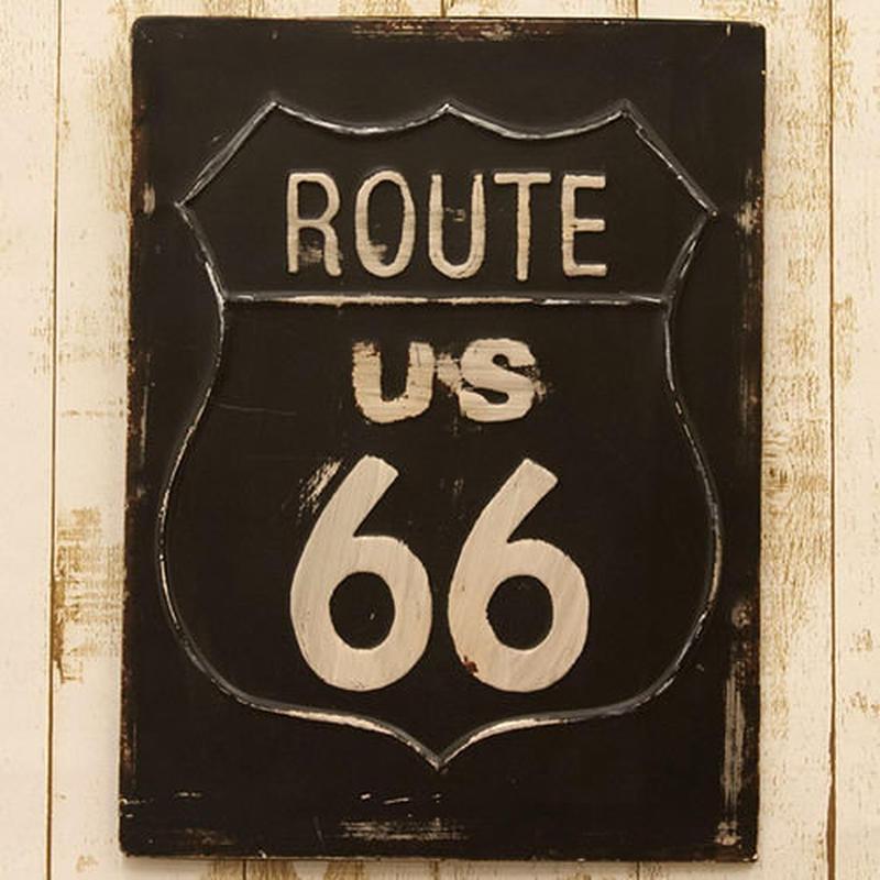 アンティーク調 アイアンプラッケ  ルート66【IRON PLAQUE  ROUTE66】ブリキ看板 看板
