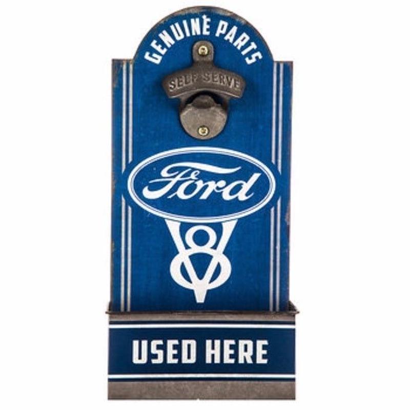【USA直輸入】フォード Ford ウッド ボトルオープナー 木製 看板  企業 ブリキ看板 車  栓抜き