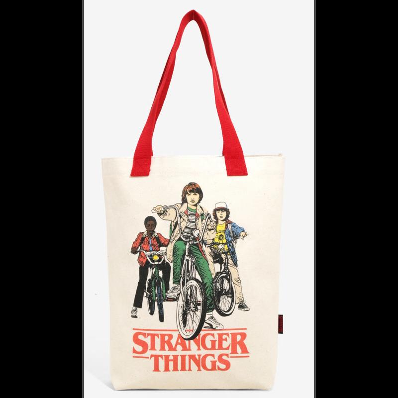 【USA直輸入】ストレンジャーシングス ルーカス ウィル ダスティン 自転車 キャンバス トート バッグ ネットフリックス トートバッグ バック  Stranger Things