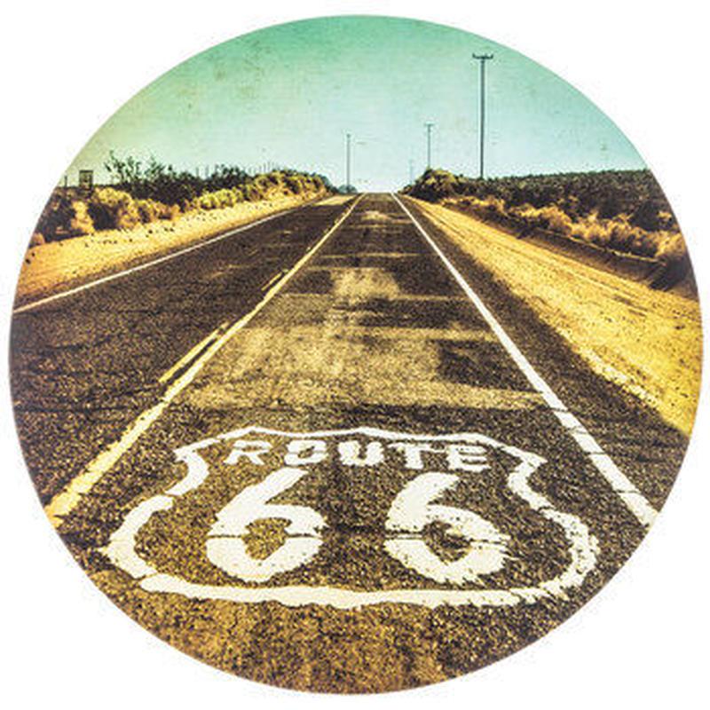 【USA直輸入】ウォールデコ ルート66 Route 66 丸い キャンバス  看板