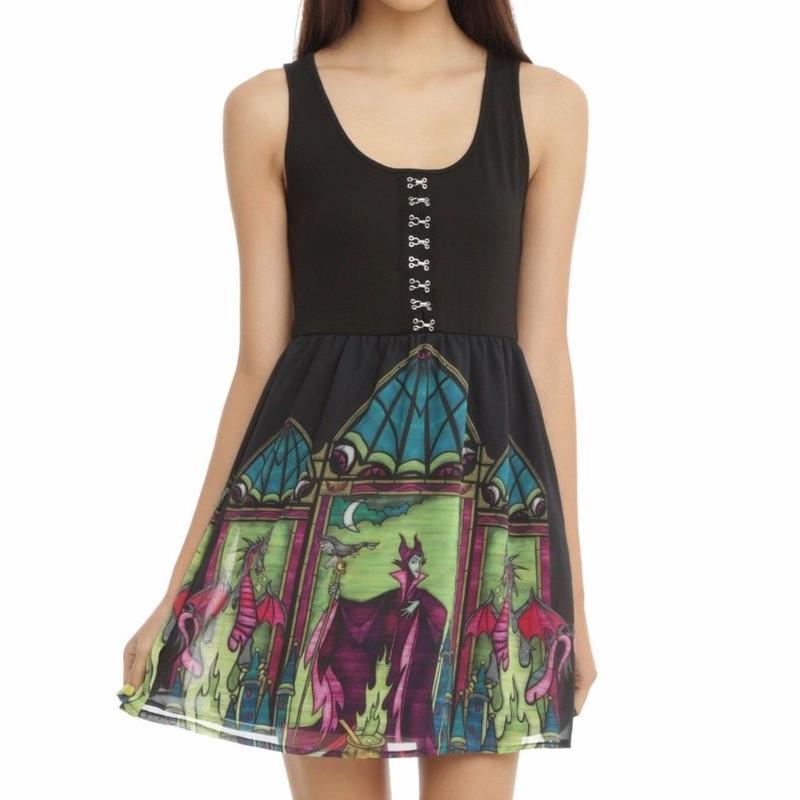【海外商品】DISNEY マレフィセント ドレス ステンドグラス柄 眠れる森の美女  ディズニー ワンピース ヴィランズ