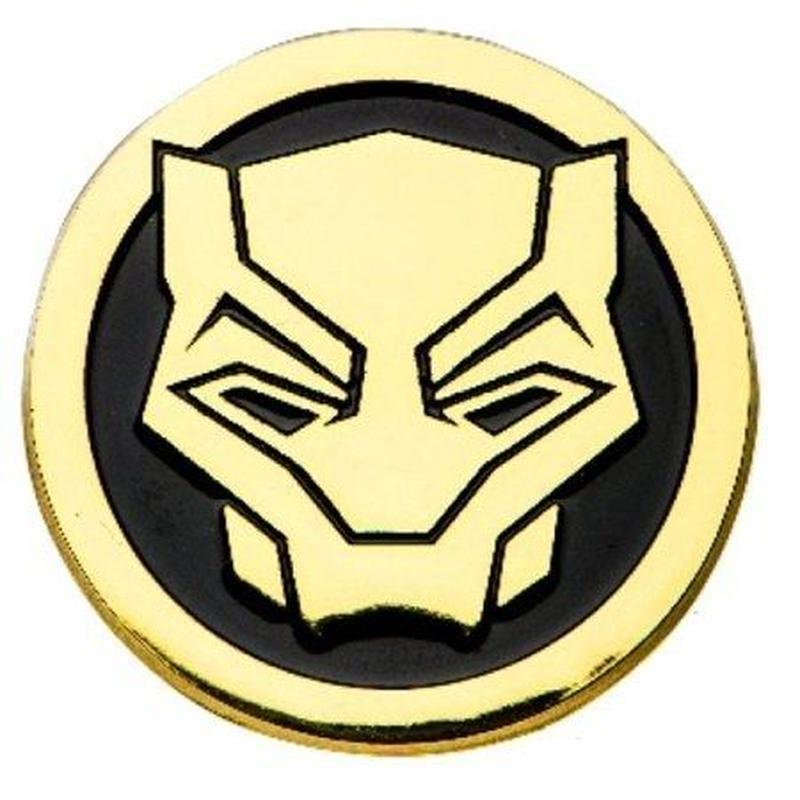 【USA直輸入】 MARVEL ブラックパンサー フェイス ゴールド エナメル ロゴ ピン マーベル ピンズ ピンバッジ Black Panther  ワカンダ