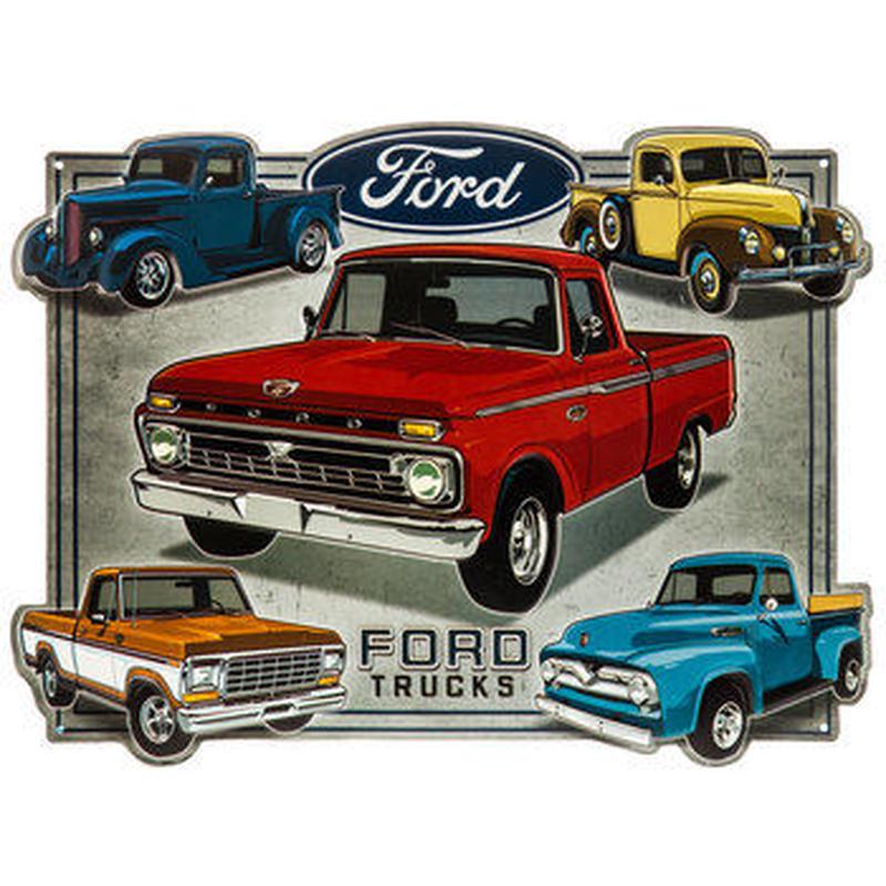 【USA直輸入】ブリキ看板 フォード トラック コラージュ エンボス加工 ダイカット Ford メタルサイン ブリキ 看板  企業 ブリキ看板 ポスター