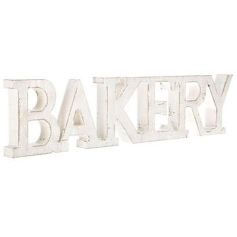 【USA直輸入】ウォールデコ 木製 ベーカリー ホワイトウォッシュ Bakery 看板