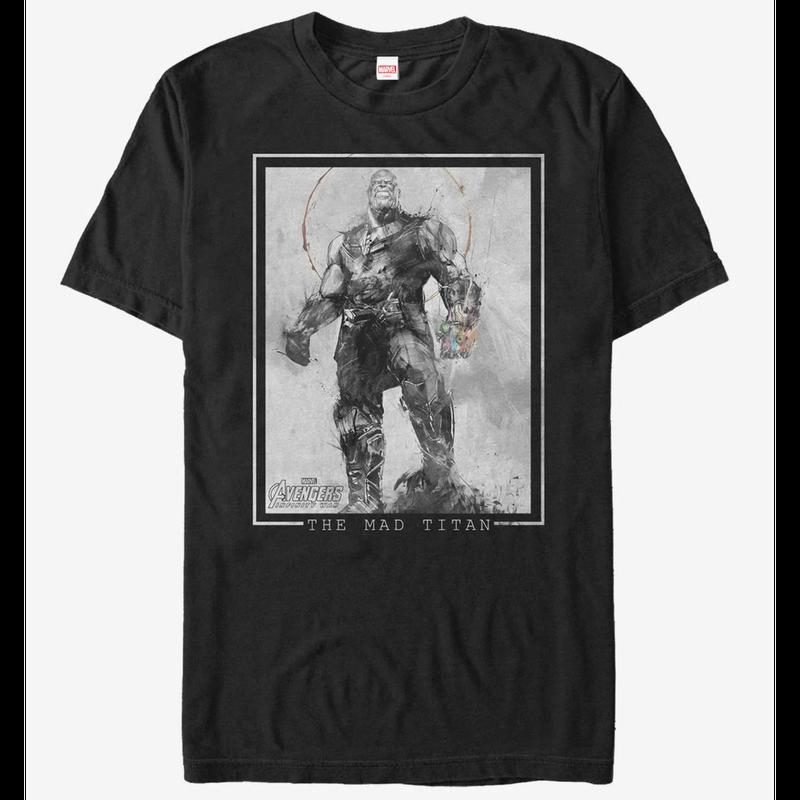 【USA直輸入】MARVEL アベンジャーズ インフィニティウォー サノス スケッチ ブラック スプラッター Tシャツ Mサイズ ガントレット マーベル