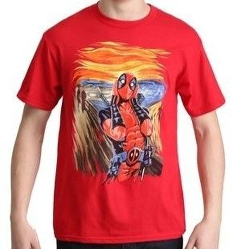 【USA直輸入】MARVEL デッドプール スクリーム ペイント 赤地 Tシャツ マーベル デップ ムンクの叫び風 Deadpool