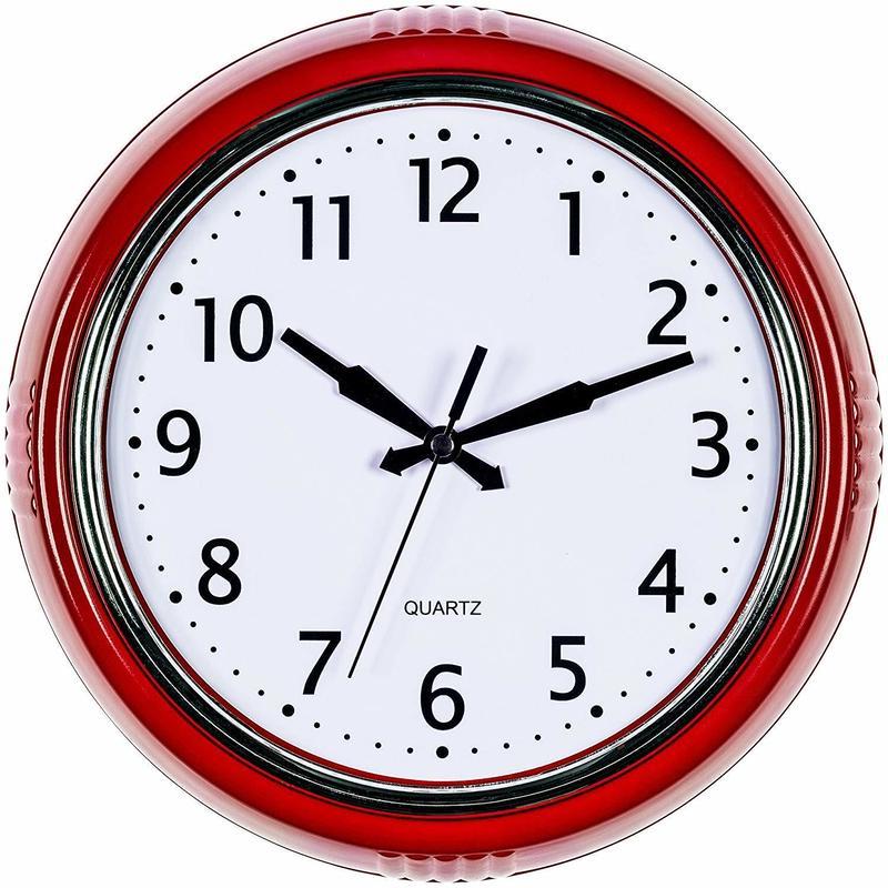 【USA直輸入】ベルンハード プロデュース レトロ 丸形 レッド 50年代風 掛け時計 壁掛け 時計 インテリア