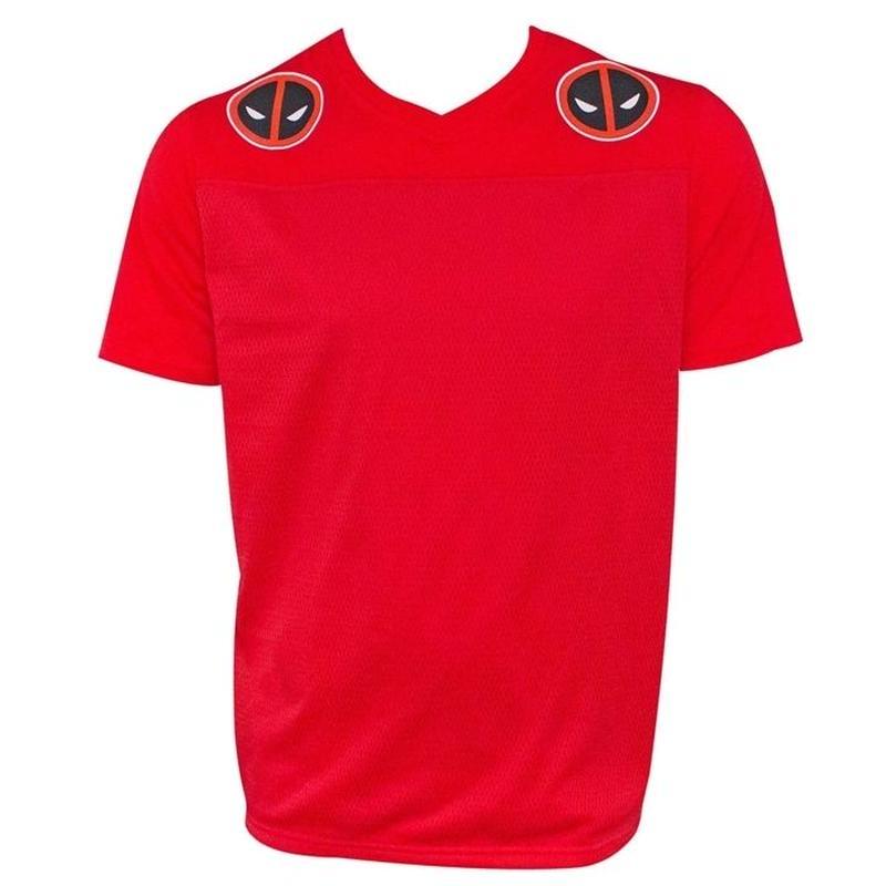 【USA直輸入】MARVEL デッドプール フットボール ジャージー レッド Sサイズ Tシャツ マーベル  Deadpool Jersey