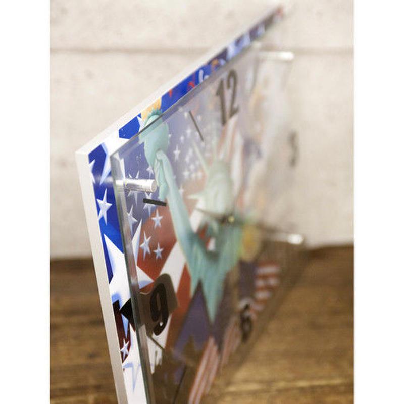 ガラス ウォールクロック USA 自由の女神 星条旗 時計 壁掛け時計