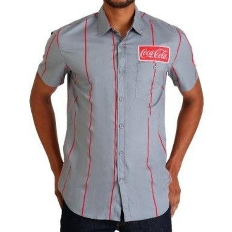 【USA直輸入】CocaCola コカコーラ ワッペン付き ボタンダウンシャツ 企業 コカ・コーラ シャツ 半袖