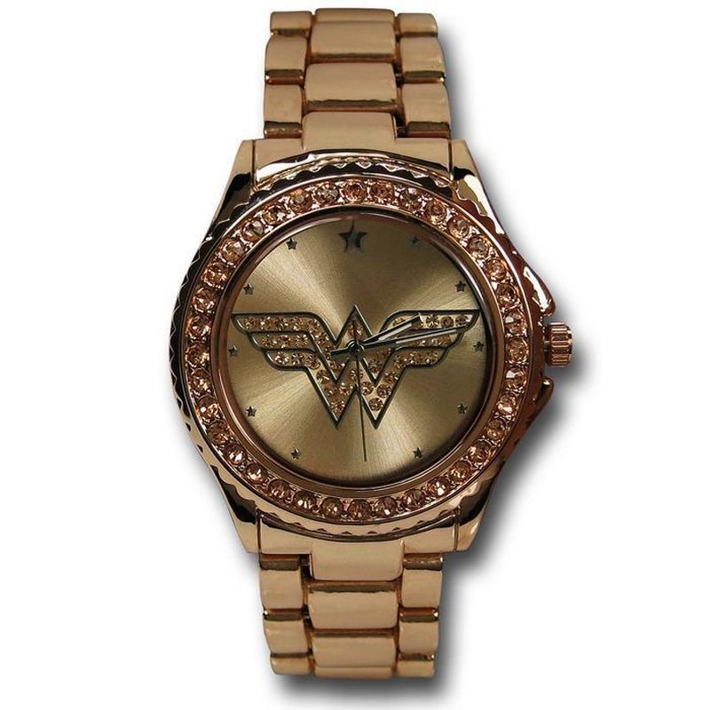 【USA直輸入】DCコミックス ワンダーウーマン シンボル ロゴ ローズゴールド リストウォッチ メタルバンド 腕時計 正規ライセンス Wonder Woman DC  ジャスティスリーグ