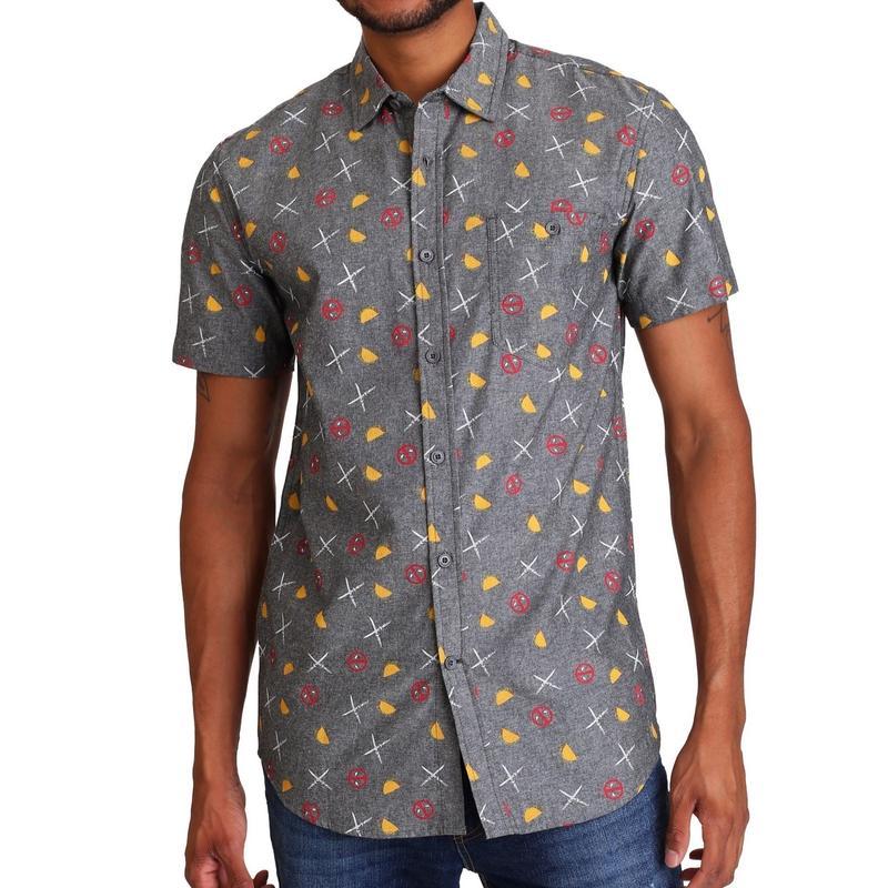 【USA直輸入】MARVEL マーベル デッドプール タコス&ソード ロゴ ボタンダウンシャツ デップ Deadpool シャツ 半袖   開襟シャツ