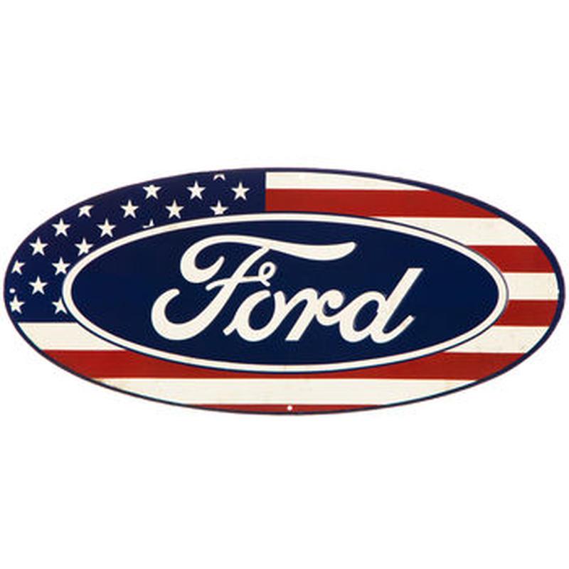 【USA直輸入】ブリキ看板 フォード Ford Flag 星条旗フラッグ メタルサイン ブリキ 看板  企業 ブリキ看板 ポスター