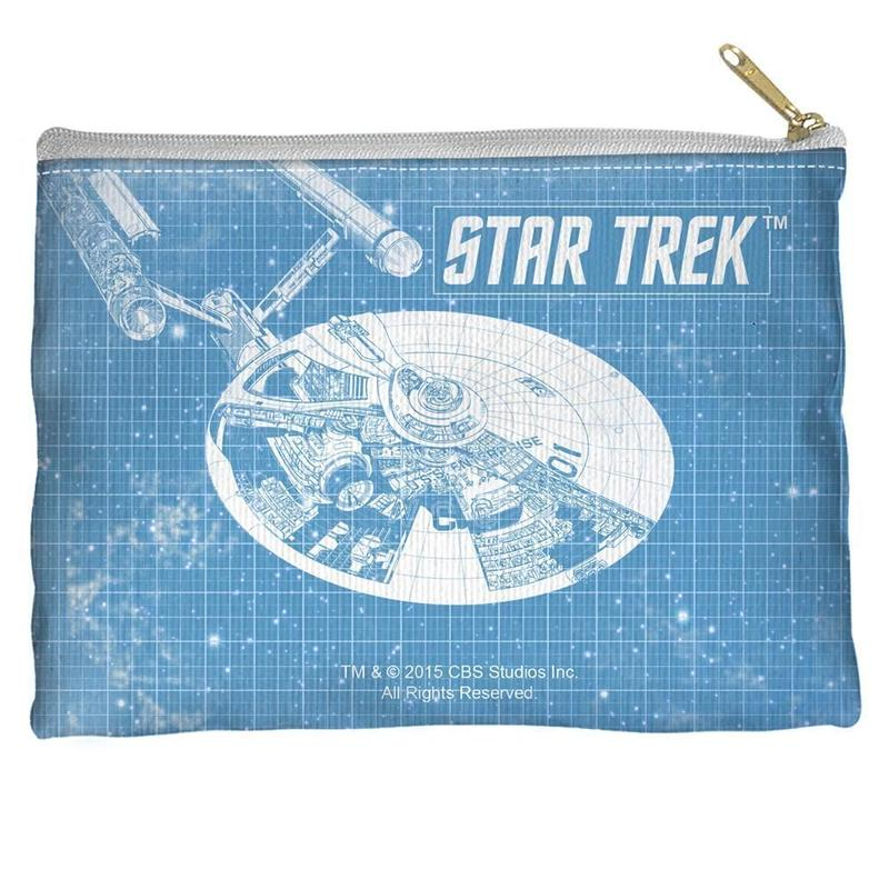 【USA直輸入】スタートレック U.S.S. Enterprise  エンタープライズ ブルー フラット ポーチ スタトレ  Star Trek TOS  カーク船長 宇宙大作戦 ペンポーチ