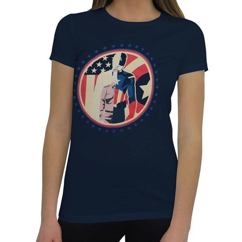 【USA直輸入】MARVEL キャプテンアメリカ Tシャツ レディース マーベル