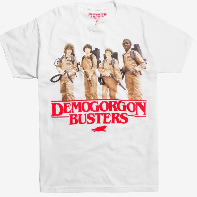 【USA直輸入】ストレンジャーシングス デモゴルゴンバスターズ Sサイズ Tシャツ ゴーストバスターズ ダスティン マイク ウィル ルーカス Stranger Things ネットフリックス