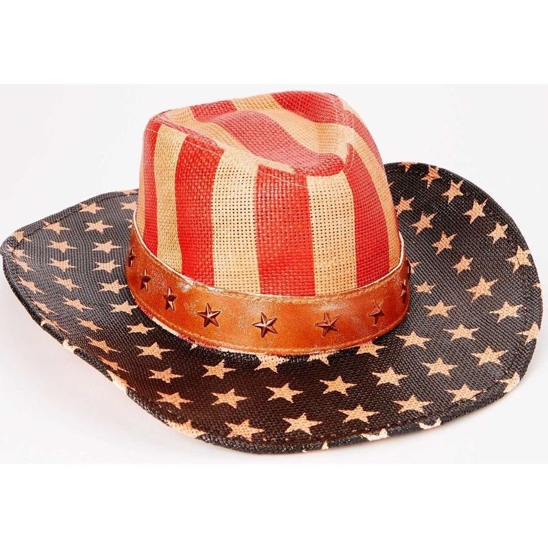 【【USA直輸入】アメリカン ジャスティス ナチュラルフラッグ カウボーイ ハット 星条旗 キャップ  帽子 フラッグ