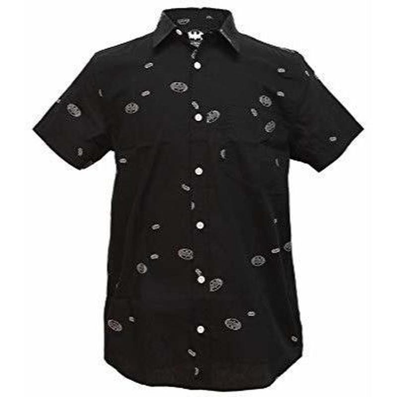【USA直輸入】DC バットマン ロゴ ボタンダウンシャツ Sサイズ シャツ 半袖   開襟シャツ DCコミックス Batman ジャスティスリーグ