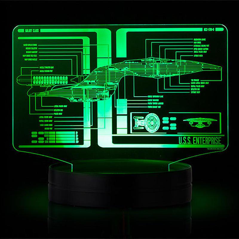 【USA直輸入】スタートレック  エンタープライズ 回路図 7色カラー LEDライト ディスプレイ 2枚 フィギュア スタトレ  Star Trek TOS TNG  宇宙大作戦 新スタートレック