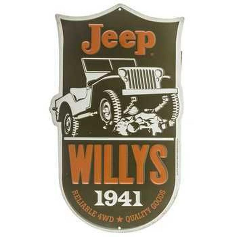【USA直輸入】ブリキ看板 ジープ Jeep  Willys 1941  壁掛け メタルサイン 看板 インテリア