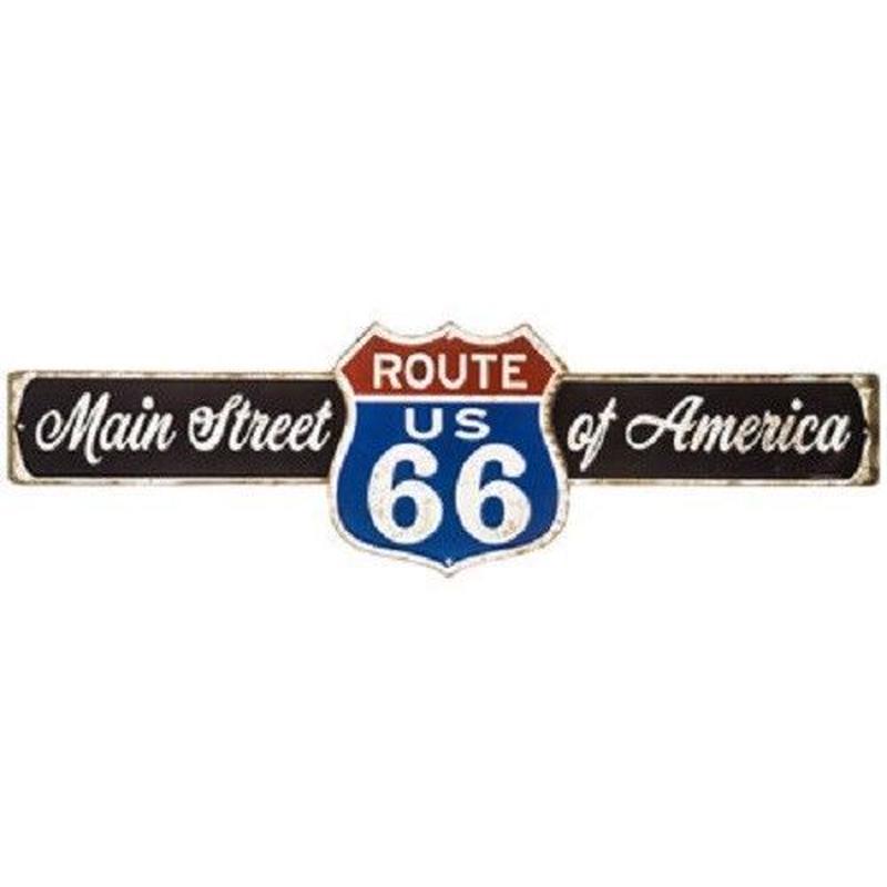 【USA直輸入】ブリキ看板 メインストリート ルート66 Main Street  ROUTE66 横長 メタルサイン エンボス加工 ウォールデコ  ブリキ 看板