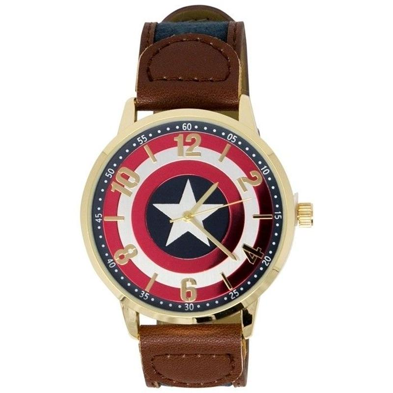【USA直輸入】MARVEL キャプテンアメリカ シンボル リストウォッチ 腕時計 ベルト マーベル アベンジャーズ キャプテン アメリカ シールド