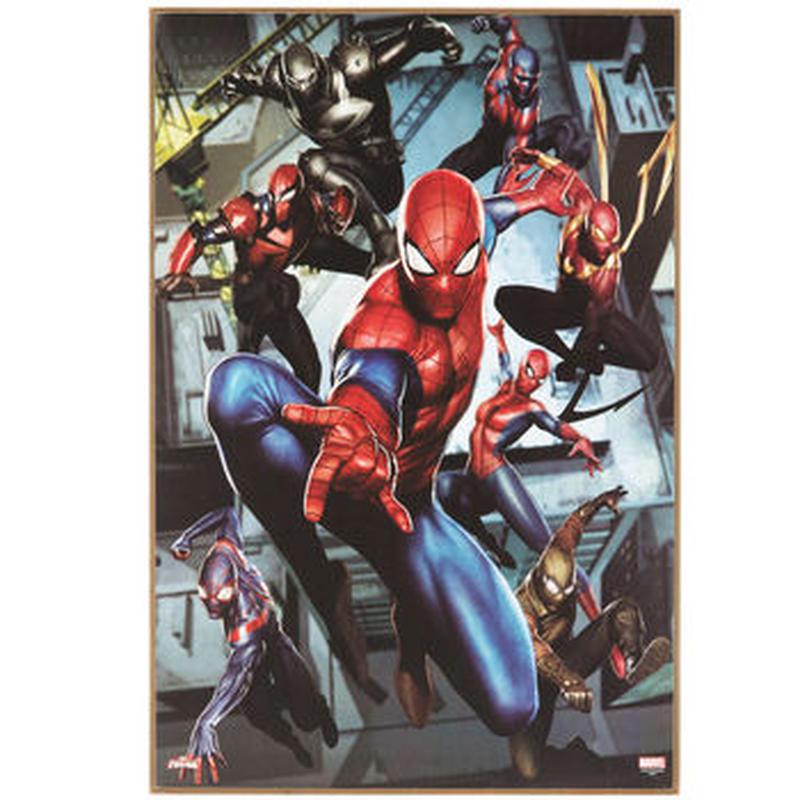 【USA直輸入】MARVEL スパイダーバース 集合柄 ウッド ウォールデコ スパイダーマン SPIDER-VERSE 看板 ポスター   壁掛け インテリア