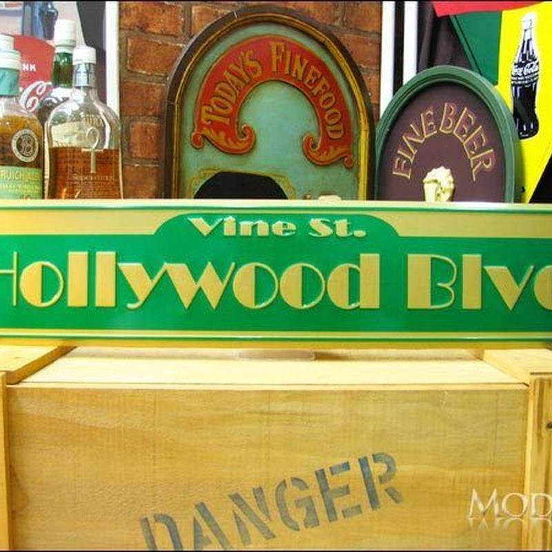 アメリカン ブリキ看板  ハリウッド通り HOLLYWOOD ハリウッド 看板