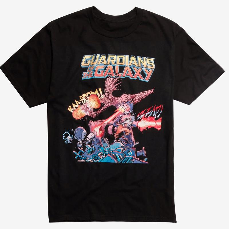 【USA直輸入】MARVEL ガーディアンズオブギャラクシー ロケットラクーン グルート コミック KAA-BOOM! Sサイズ Tシャツ マーベル  ガーディアンズ