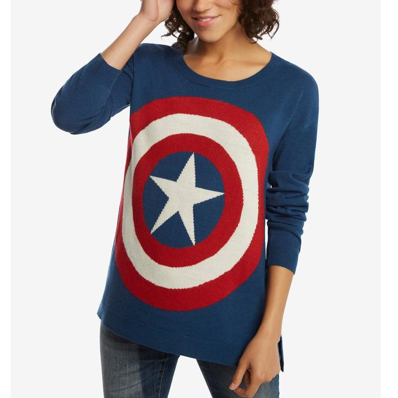【USA直輸入】MARVEL キャプテンアメリカ シールド ロゴ スウェット セーター ブルー レディース マーベル Captain America