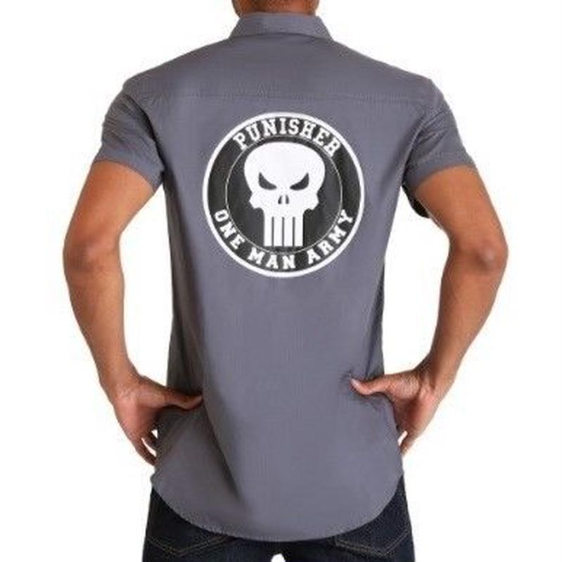 【USA直輸入】MARVEL パニッシャー Punisher ワークシャツ マーベル ワーキング シャツ  半袖 開襟シャツ