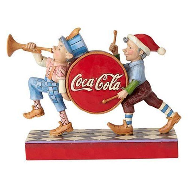 【USA直輸入】 CocaCola コカコーラ エルフ マーチング メリーミュージカル スタチュー by Jim Shore  コカ コーラ 企業物 置物 フィギュア ジム・ショア