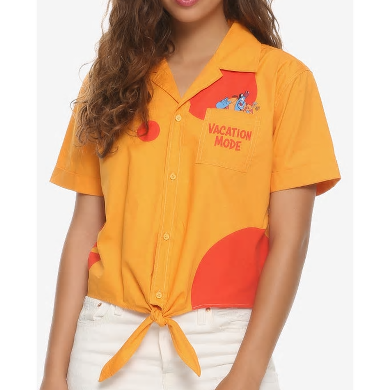 【USA直輸入】DISNEY アラジン ジーニー バケーション モード 半袖 シャツ 開襟シャツ ジャスミン 魔法のランプ ディズニー Aladdin  ボタンアップ