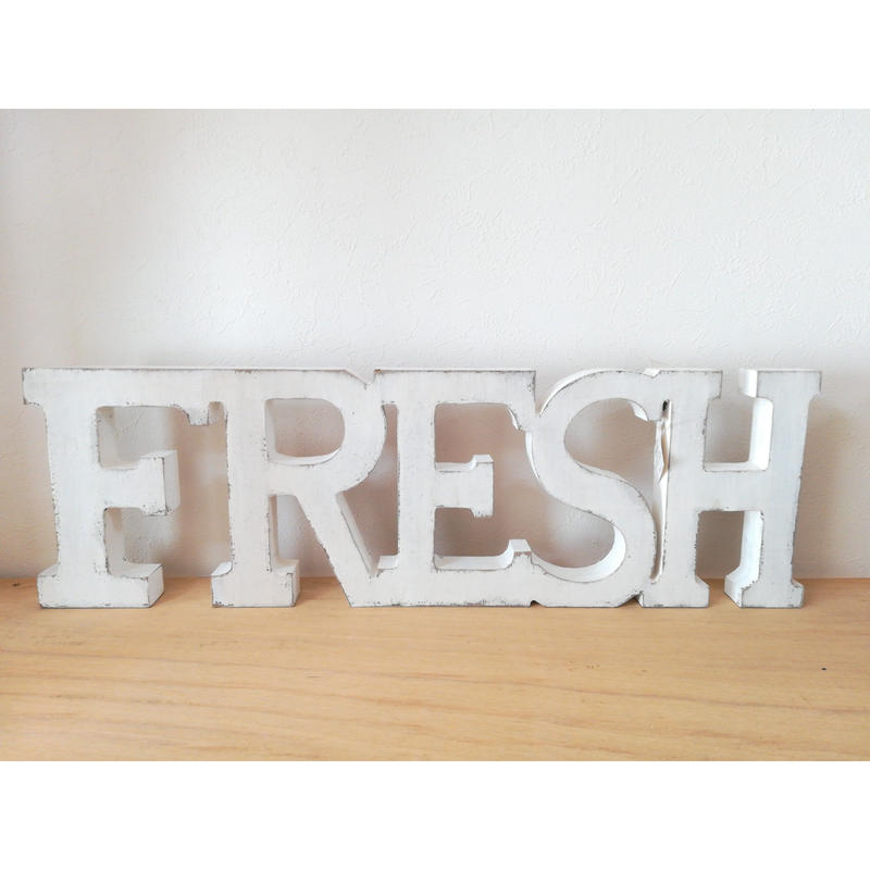 【USA直輸入】ウォールデコ 木製 フレッシュ ホワイトウォッシュ  Fresh 看板
