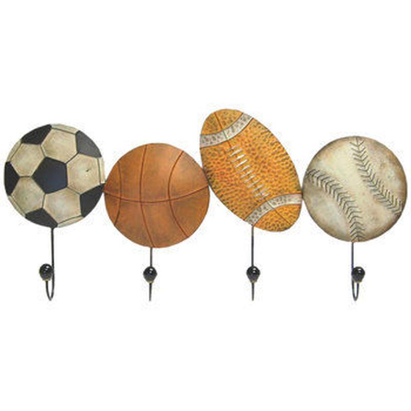 【USA直輸入】ウォールデコ スポーツボール フック 壁掛け メタル  ブリキ看板