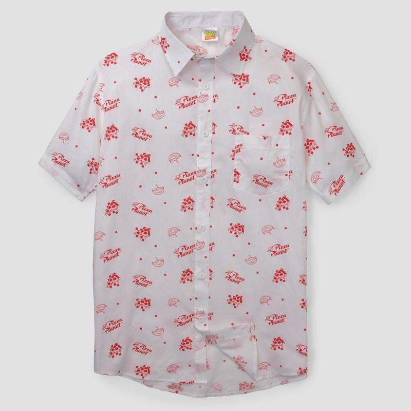 【USA直輸入】DISNEY トイストーリー グリーンメン エイリアン ピザプラネット ピザ 半袖 シャツ Toy Story  ディズニー ピクサー ウッディ バズ ボタンシャツ