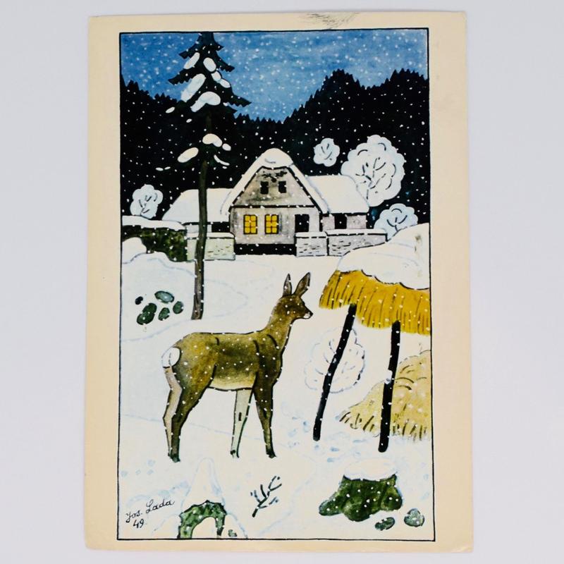 チェコ ポストカード ヨゼフ・ラダ 雪景色 鹿