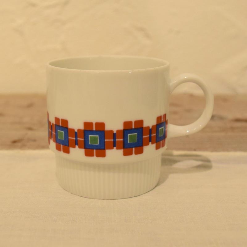 ドイツ Melitta チェック柄のコーヒーカップ